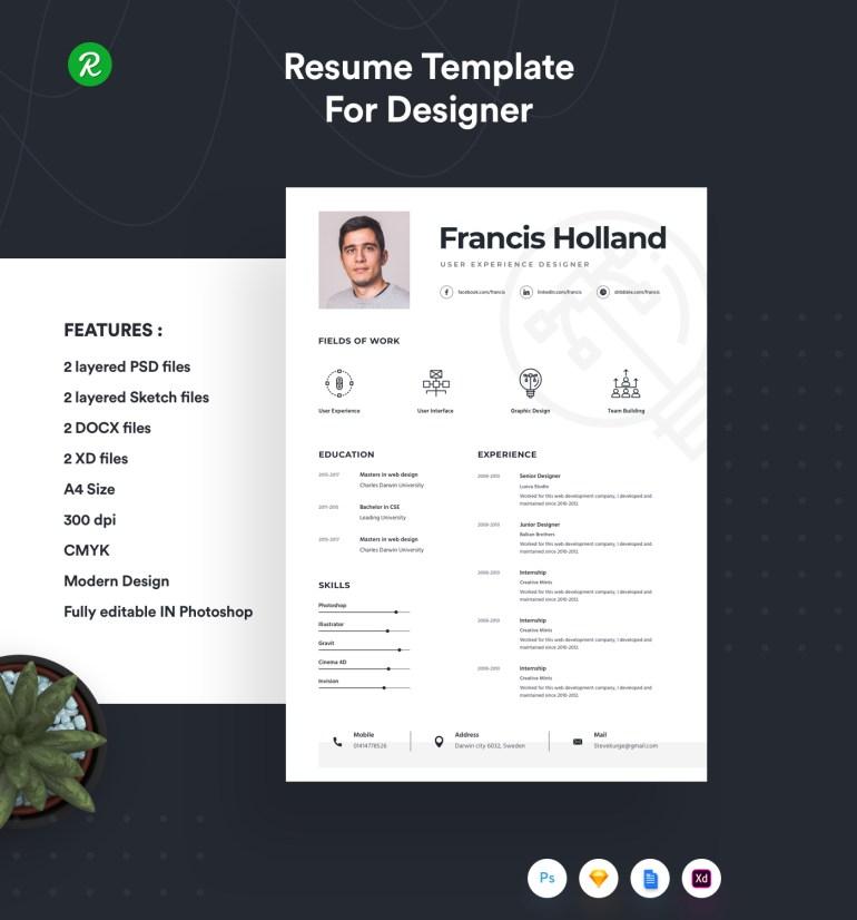 Free Resume Template For Designer 1