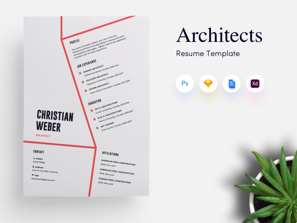 Architects CV Resume Template PSDboom