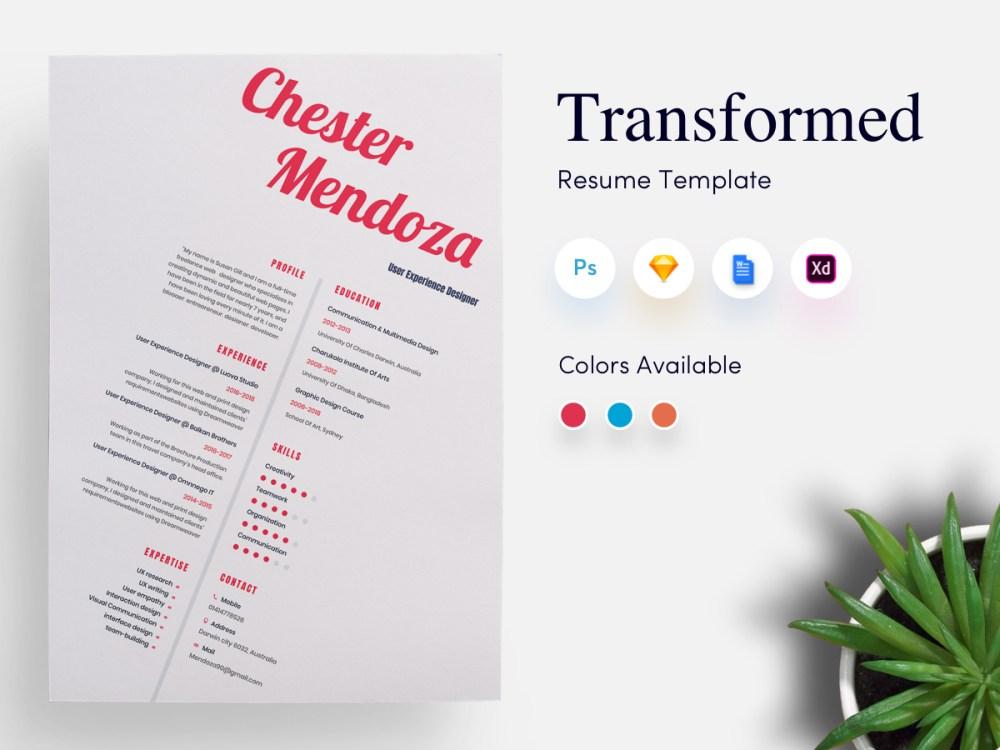 Transformed CV/Resume Template
