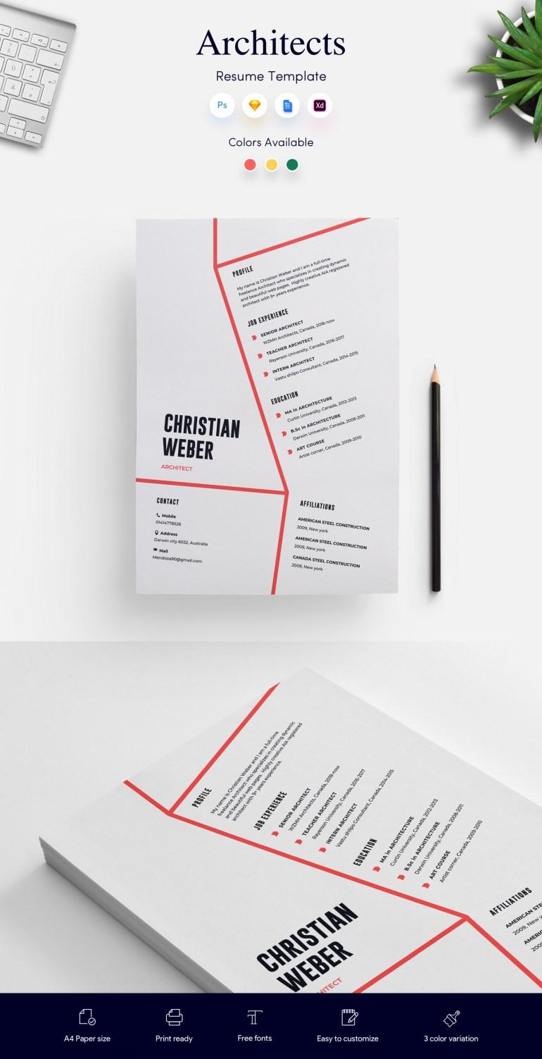 1. Architects CV/Resume Template