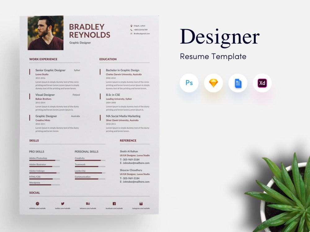 3 page Designer CV/Resume Template