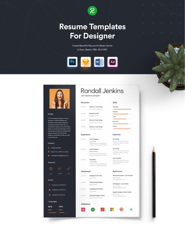 1. Free Resume Template For Designer