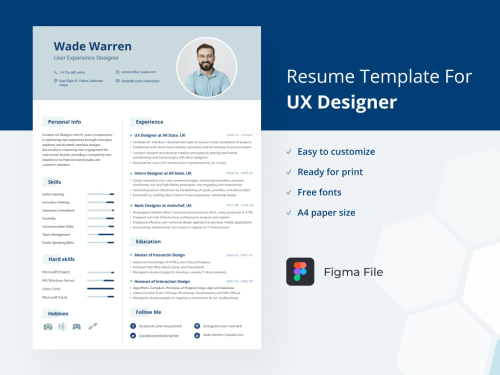 free figma resume template