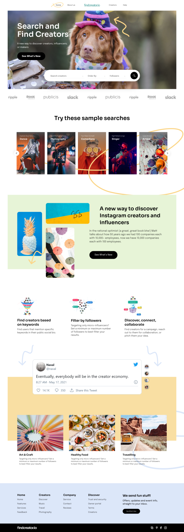 sample figma landing page for dribbble