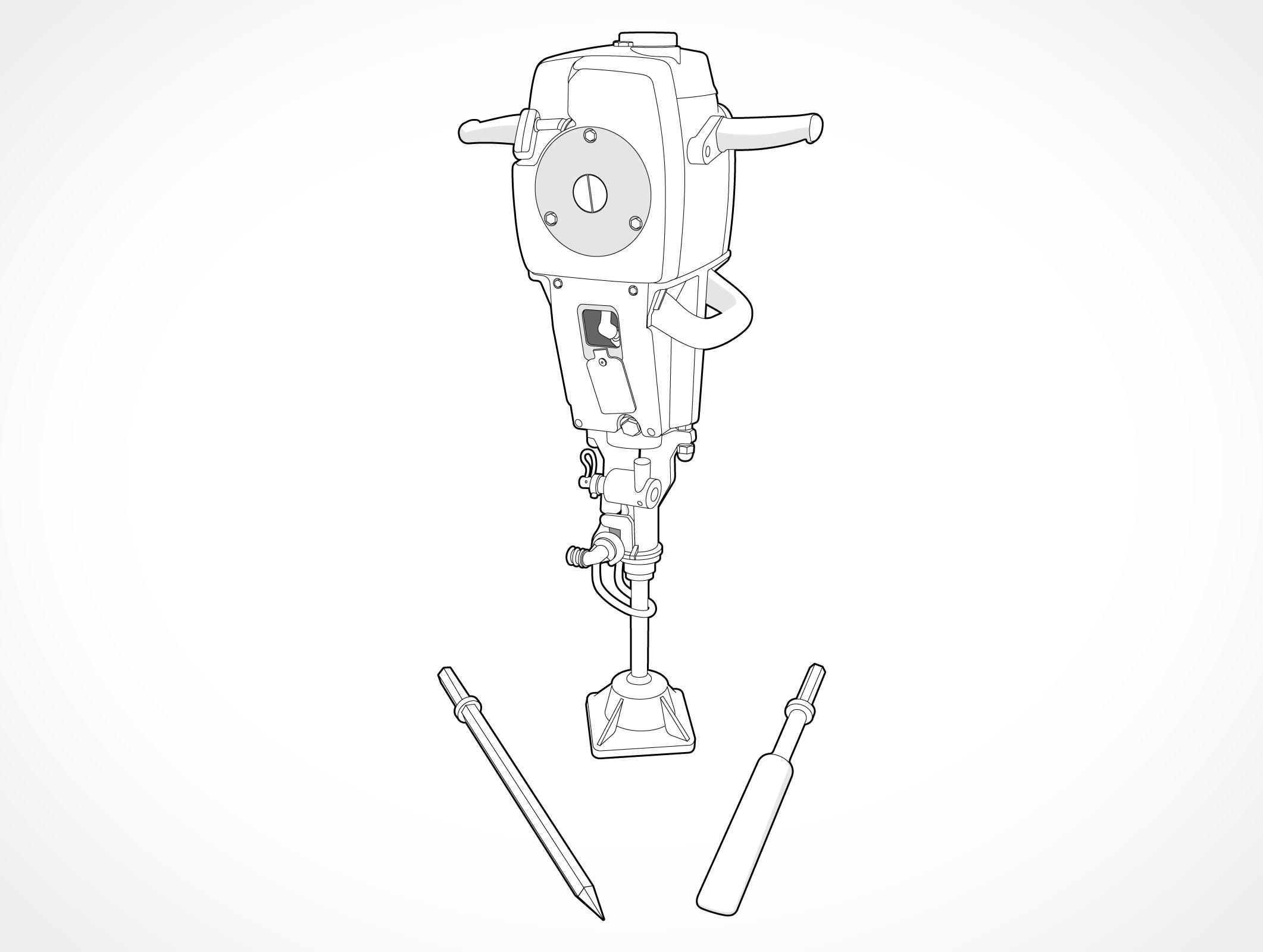 Hydraulic Jack Hammer Spike Chisel Pound