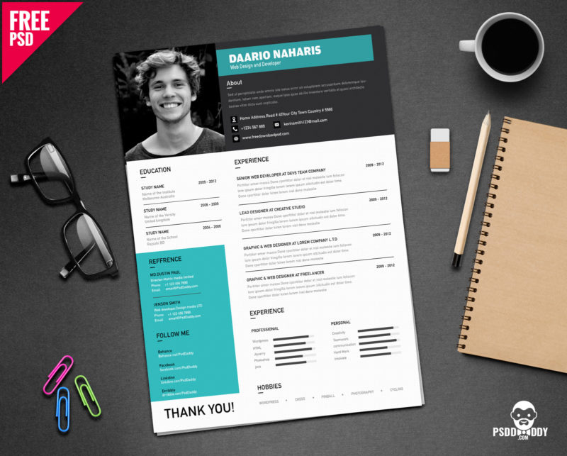 Download Simple Resume Design Free PSD PsdDaddy Com