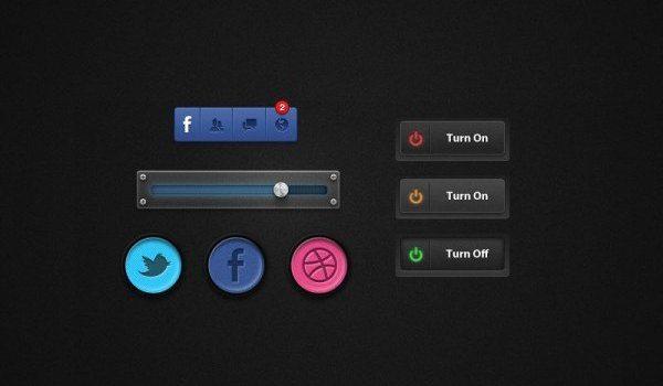 4 exquisite mini Button button PSD design to the original file