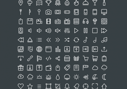 Collection of Solid and Line Icons PSD
