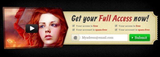 access arrow cta form media modern register retro ribbon submit subscribe ticket ui video videos