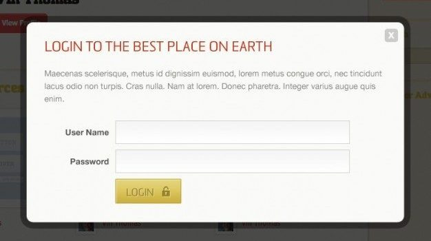 box form login modal sign in