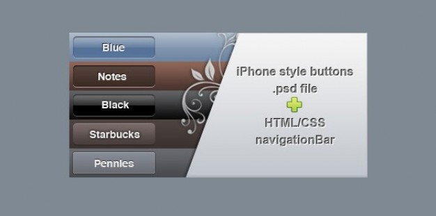 classy iphone style buttons psd