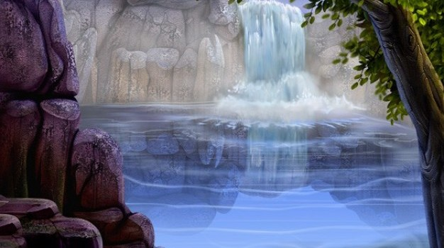 clear waterfall forest background psd