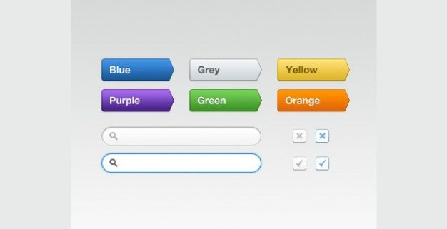 colorful shaped buttons web ui set psd