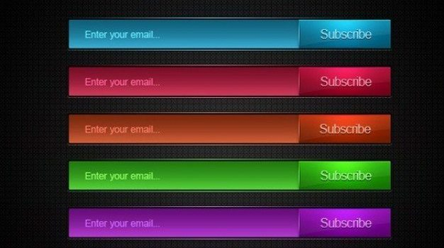 colors email subscribe buttons set psd