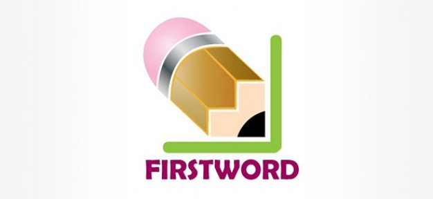 copywriter logo template with pencil illustration