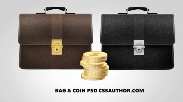 Free Bag and Coins Finance Icons PSD