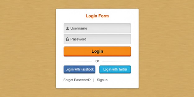 fresh login box psd layered material