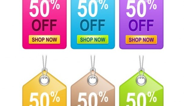 glossy colorful sales tags set psd