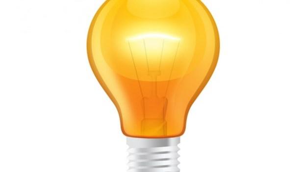 Glossy orange light bulb (PSD)
