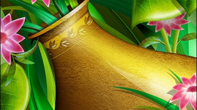 golden vase with flowers layered psd material
