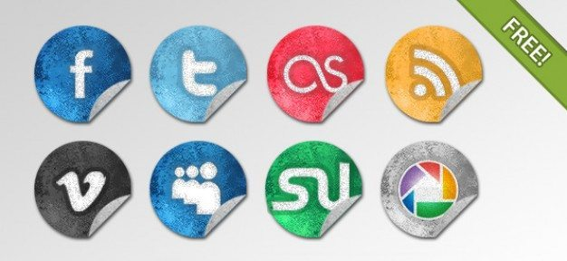 Grunge Social Network Icons