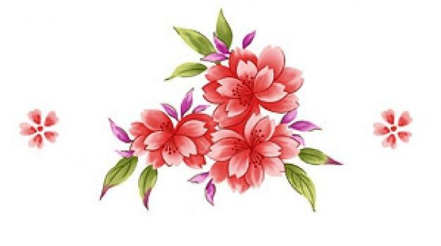 hand painted flowers layered psd material