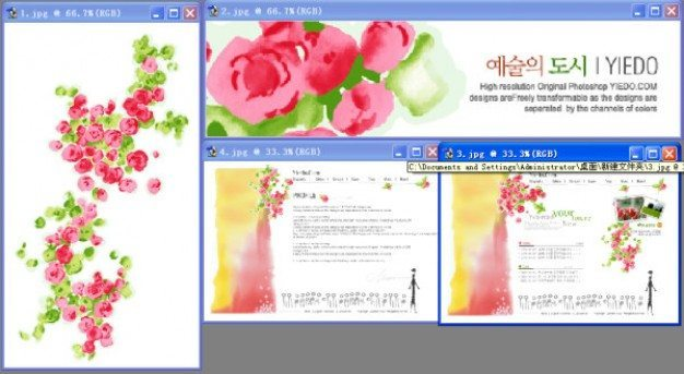 korea flowers psd layered material
