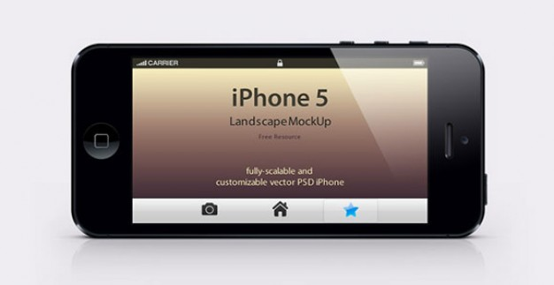 Landscape layout iPhone 5 mockup