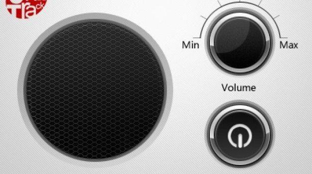 offon button and volume wheel next to speaker grid