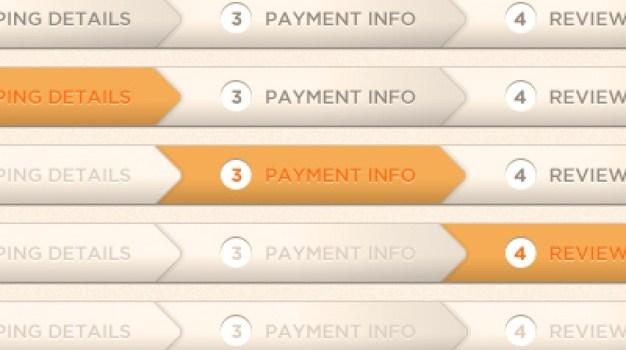 Orange checkout process indicator PSD