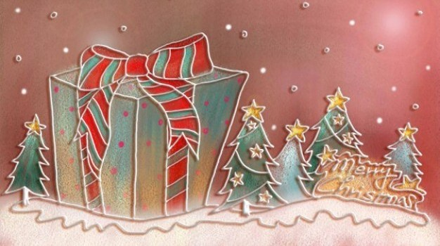 pastels  hand painted christmas illustration psd layered