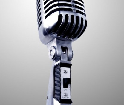 Realistic vintage microphone layered psd