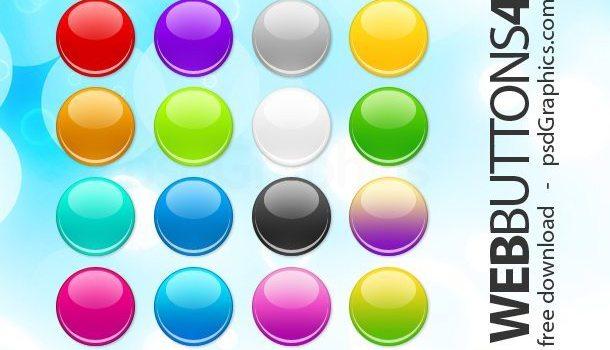 PSD round web buttons set