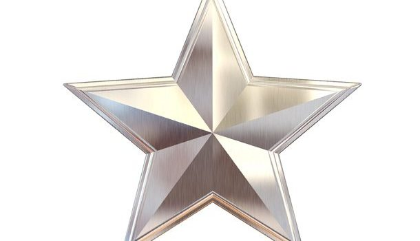 Gold, silver and bronze metal stars