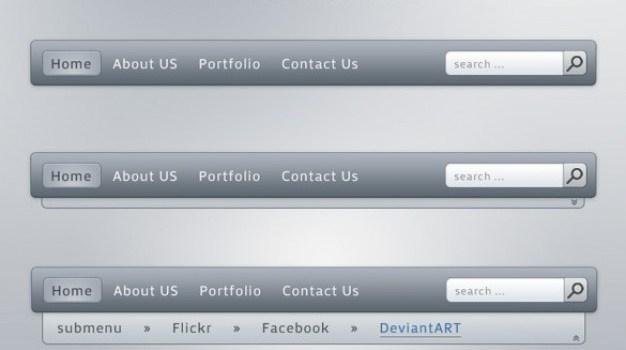 sleek grey navigation menu with search field psd