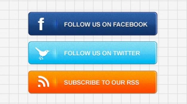 Social media buttons PSD material