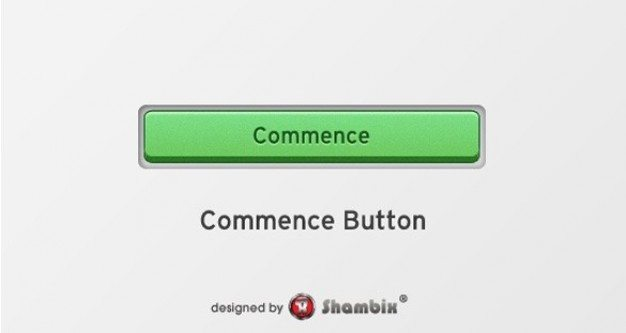 stylish green commence start button psd