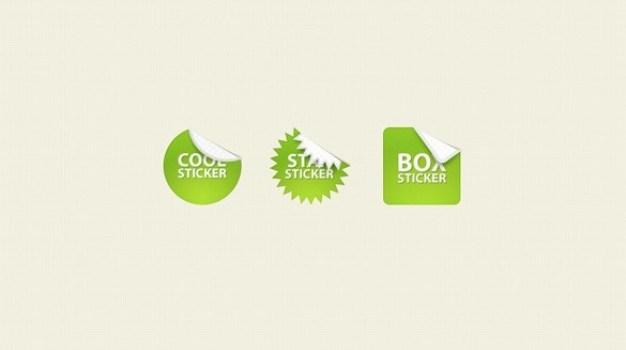 stylish green web ui sales stickers set psd