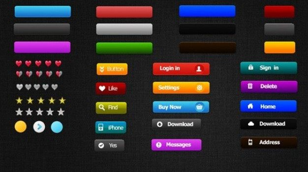 sweet selection of web ui buttons psd