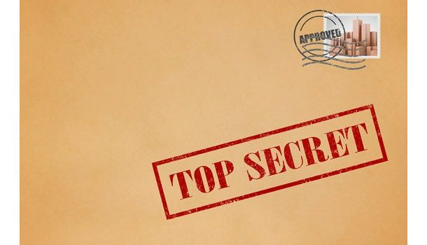 Top secret stamp and envelope