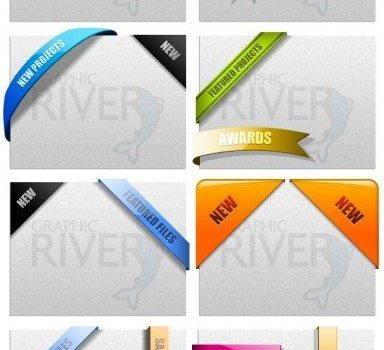 web  ribbons psd layered material