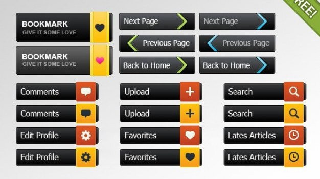 web ui buttons with colorful tabs set
