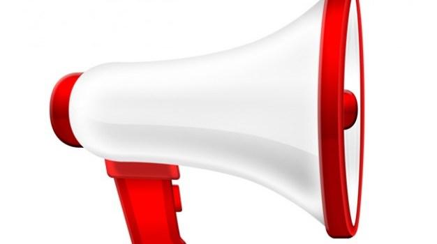 White megaphone icon (PSD)