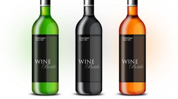wine bottle psd template
