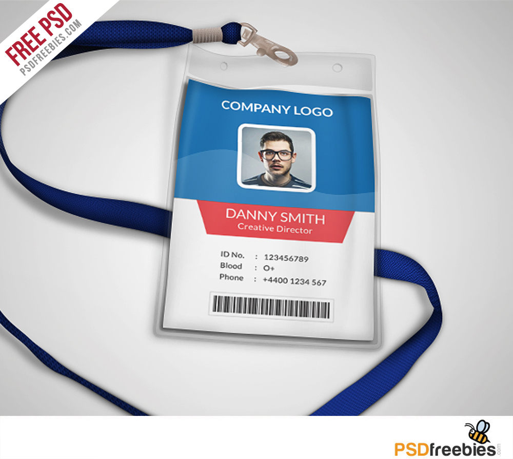medium resolution of multipurpose company id card free psd template