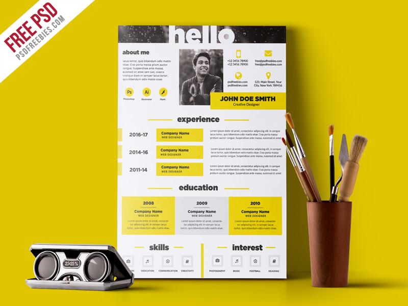 creative resume template psd free