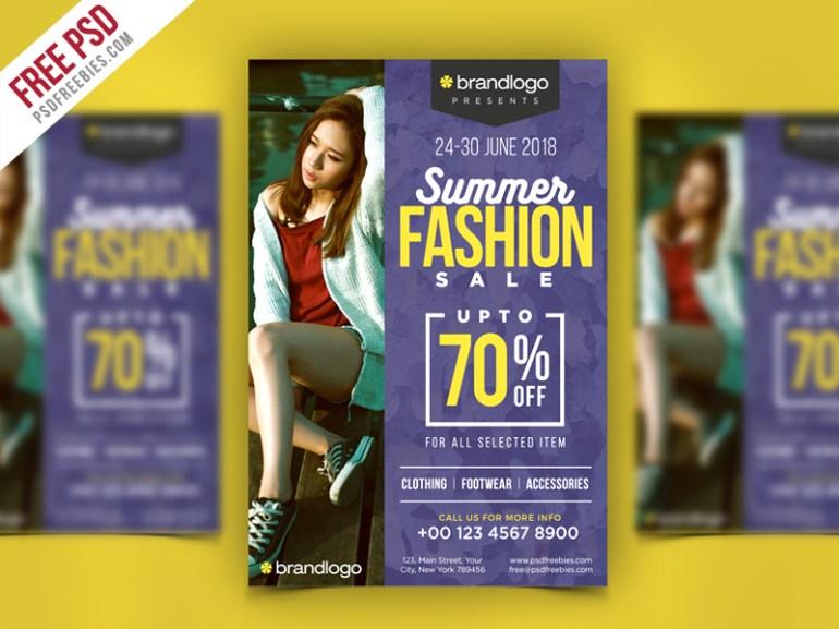 Summer Fashion Sale Flyer PSD Template