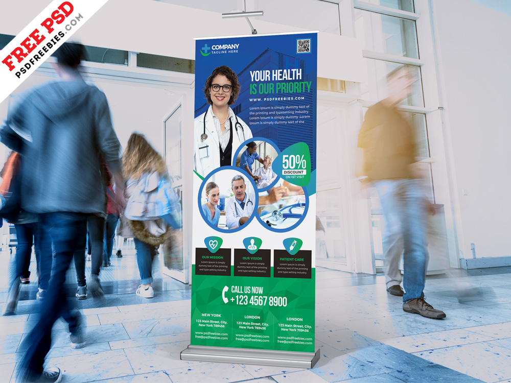 Hospital and Pharmacy Rollup Banner PSD  PSDFreebiescom