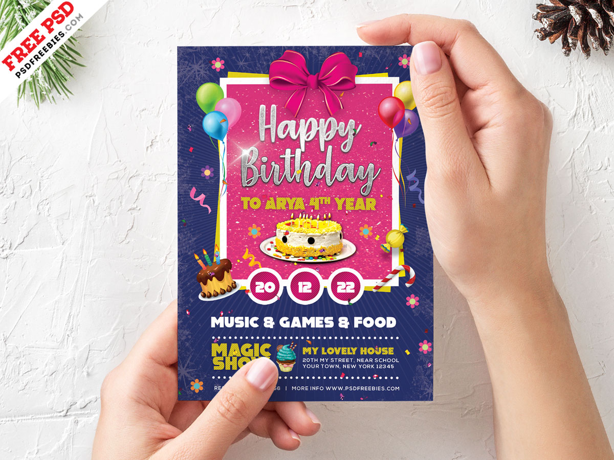 birthday card invitation template psd