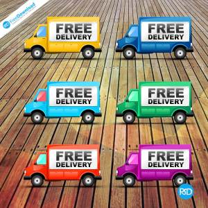 Free Delivery Truck Icon PSD
